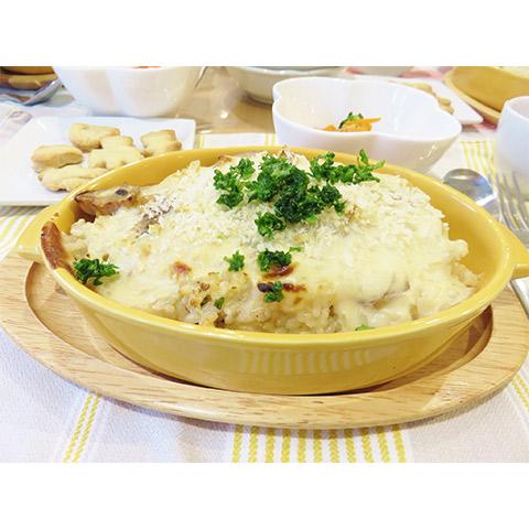 【濃いアーモンドミルクレシピ】玄米のアーモンドミルクホワイトドリア