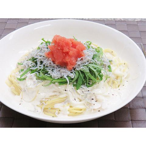【濃いアーモンドミルクレシピ】アーモンドミルクとシラスのパスタ
